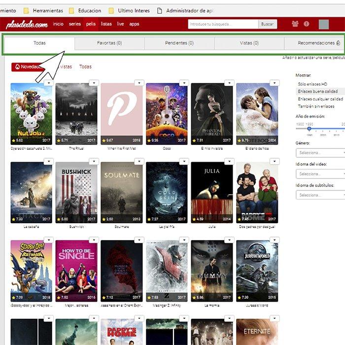 """apartado """"series"""" o """"películas"""" pordede.com"""