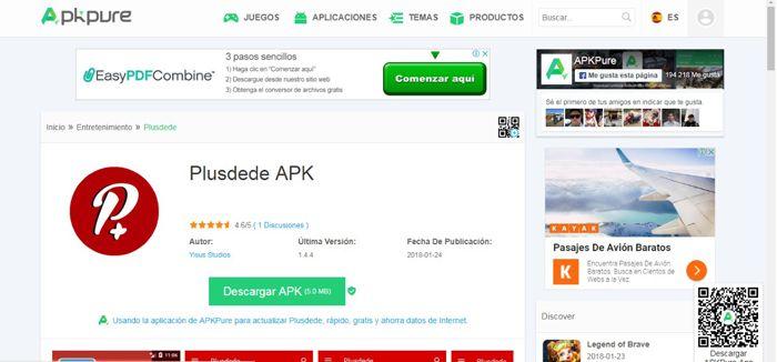 Confirmación descarga de aplicación de Plusdede
