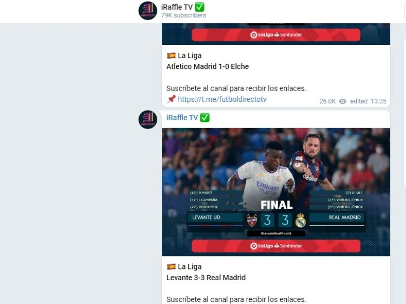 telegram ver fútbol gratis